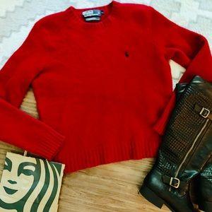 Vintage Polo Ralph Lauren Red Crewneck Sweater L
